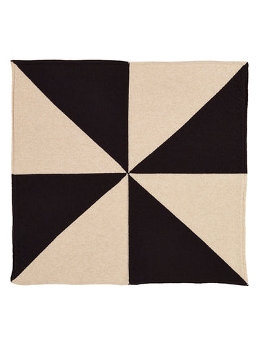 Windmill Square Neckerchief Black-Small Scarves & Neckerchiefs-Jo Gordon-Windmill Square Neckerchief Black-100% Lambswool-Neckerchief