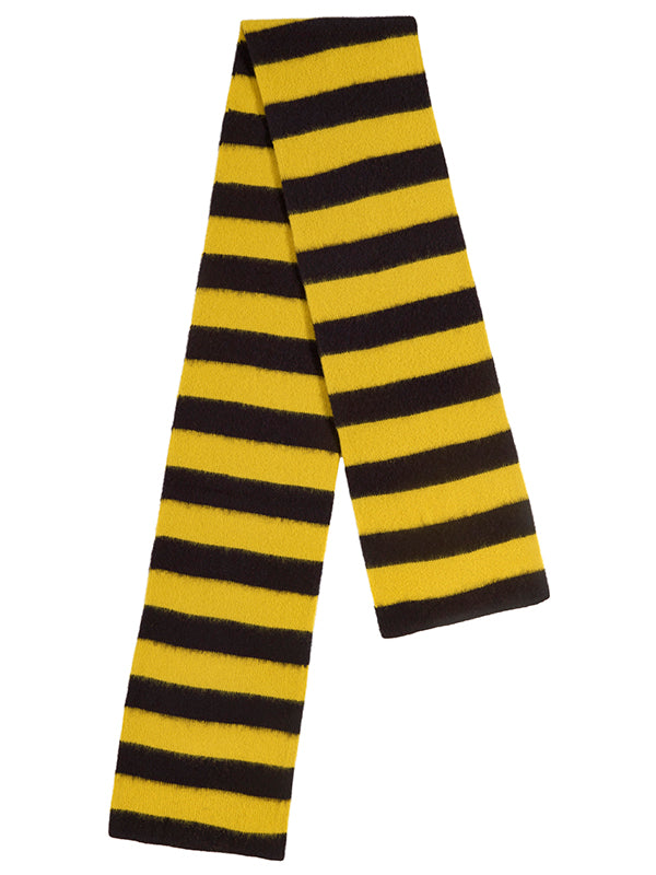 Brushed Wide Stripe Scarf Black & Turmeric