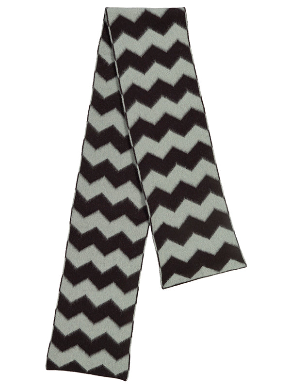 Brushed Zigzag Scarf Black & Kintyre