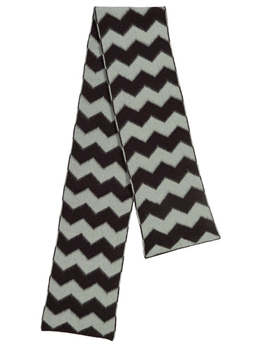 Brushed Zigzag Scarf Black & Kintyre-Scarves-Jo Gordon-Brushed Zigzag Scarf Black & Kintyre-scarf-100% Lambswool