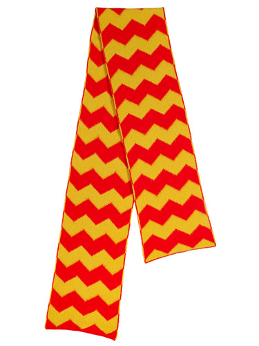 Brushed Zigzag Scarf Scarlet & turmeric-Scarves-Jo Gordon-Brushed Zigzag Scarf Scarlet & turmeric-scarf-100% Lambswool