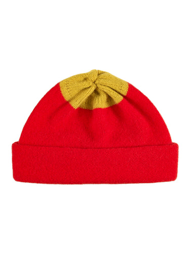 Top Spot Hat Scarlet & Turmeric-Plain Hats-Jo Gordon-Top Spot Hat Scarlet & Turmeric-Hat-Plain Hat-100% Lambswool