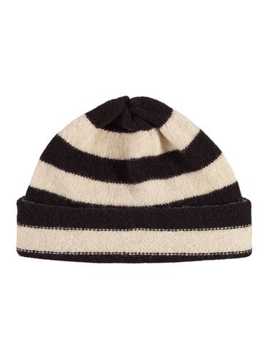 Stripe Hat Black & Oatmeal-Plain Hats-Jo Gordon-Stripe Hat Black & Oatmeal-Hat-Plain Hat-100% Lambswool