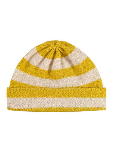 Stripe Hat Turmeric & Oatmeal-Plain Hats-Jo Gordon-Stripe Hat Turmeric & Oatmeal-Hat-Plain Hat-100% Lambswool