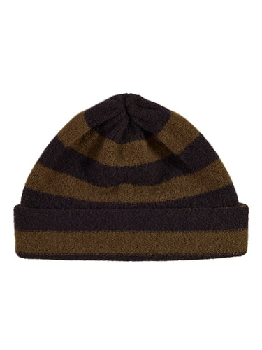 Stripe Hat-Plain Hats-Jo Gordon-Stripe Hat Black & Military-Hat-Plain Hat-100% Lambswool