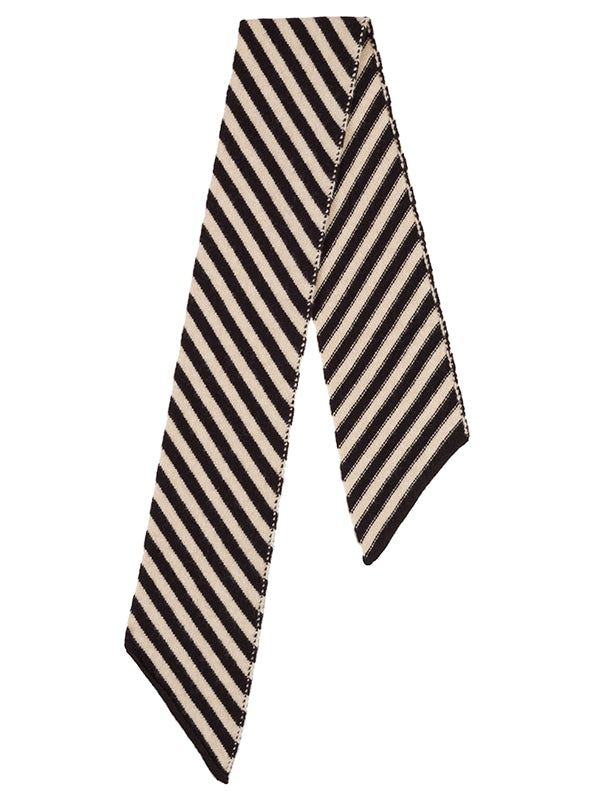 Small Diagonal Stripe Scarf Black & Oatmeal