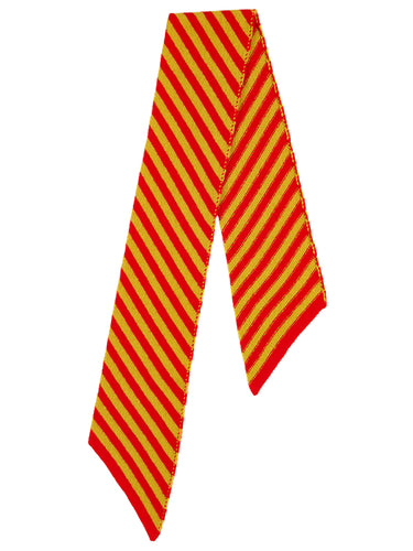 Small Diagonal Stripe Scarf Scarlet & Turmeric-Small Scarves & Neckerchiefs-Jo Gordon-Small Diagonal Stripe Scarf Scarlet & Turmeric-100% Lambswool-Small Scarf