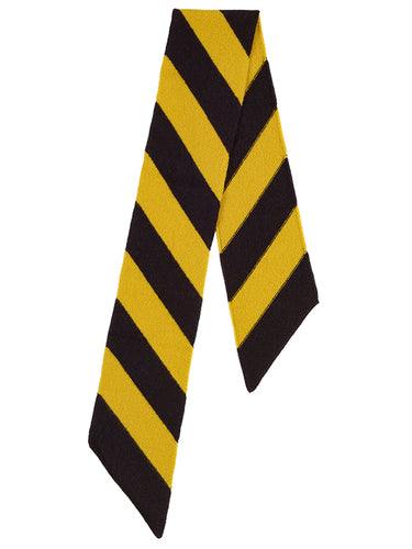 Small Wide Stripe Diagonal Scarf Black & Turmeric-Small Scarves & Neckerchiefs-Jo Gordon-Small Wide Stripe Diagonal Scarf Black & Turmeric-100% Lambswool-Small Scarf