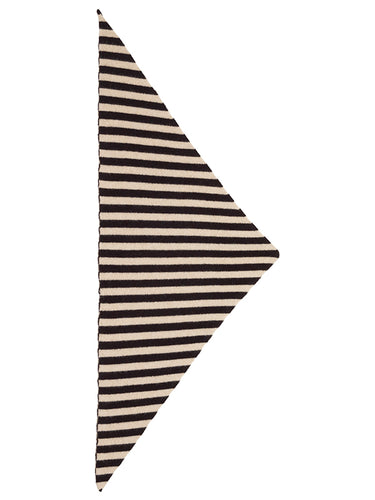 Striped Triangle Neckerchief Black & Oatmeal-Small Scarves & Neckerchiefs-Jo Gordon-Striped Triangle Neckerchief Black & Oatmeal-100% Lambswool-Neckerchief