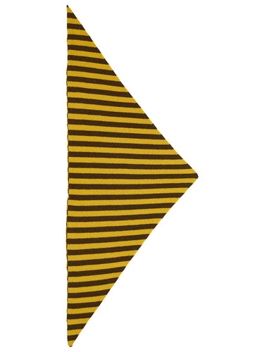 Striped Triangle Neckerchief Military & Turmeric-Small Scarves & Neckerchiefs-Jo Gordon-Striped Triangle Neckerchief Military & Turmeric-100% Lambswool-Neckerchief