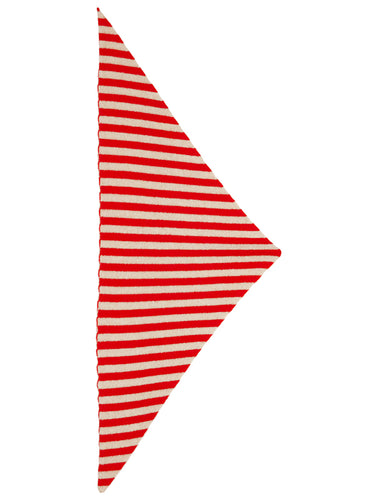 Striped Triangle Neckerchief Scarlet & Oatmeal-Small Scarves & Neckerchiefs-Jo Gordon-Striped Triangle Neckerchief Scarlet & Oatmeal-100% Lambswool-Neckerchief