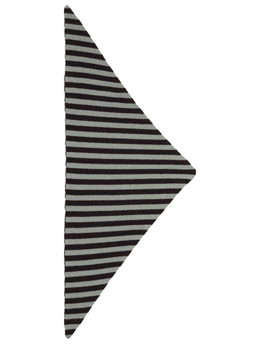 Striped Triangle Neckerchief Black & Kintyre-Small Scarves & Neckerchiefs-Jo Gordon-Striped Triangle Neckerchief Black & Kintyre-100% Lambswool-Neckerchief