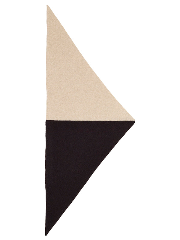 Half Half Triangle Neckerchief Black & Oatmeal