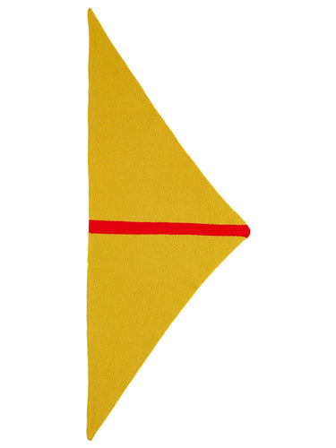 Single Stripe Triangle Neckerchief Turmeric & Scarlet-Small Scarves & Neckerchiefs-Jo Gordon-Single Stripe Triangle Neckerchief Turmeric & Scarlet-100% Lambswool-Neckerchief
