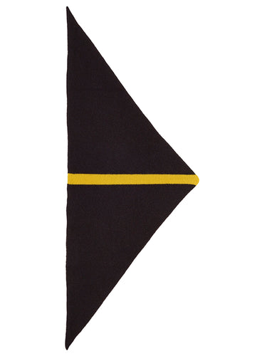Single Stripe Triangle Neckerchief Black & Turmeric-Small Scarves & Neckerchiefs-Jo Gordon-Single Stripe Triangle Neckerchief Black & Turmeric-100% Lambswool-Neckerchief