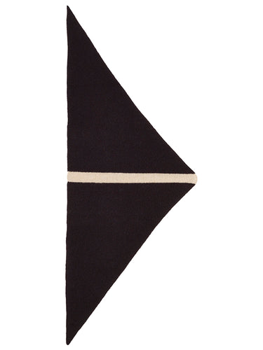 Single Stripe Triangle Neckerchief Black & Oatmeal-Small Scarves & Neckerchiefs-Jo Gordon-Single Stripe Triangle Neckerchief Black & Oatmeal-100% Lambswool-Neckerchief