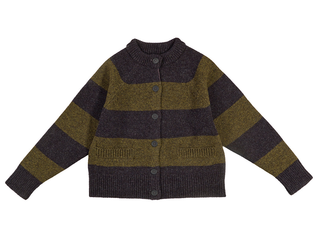 Stripe Cardigan Charcoal & Pine Shadow