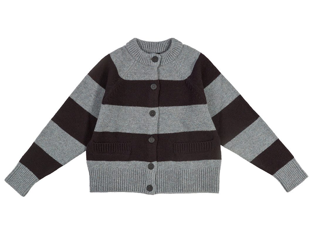 Stripe Cardigan Graphite Green & Black