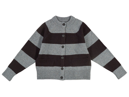 Stripe Cardigan Graphite Green & Black-Jumpers & Cardigans-Jo Gordon-Stripe Cardigan Graphite Green & Black-100% Lambswool-Cardigan-Striped Cardigan