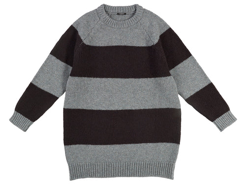Oversize Stripe Jumper Graphite Green & Black-Jumpers & Cardigans-Jo Gordon-Oversize Stripe Jumper Graphite Green & Black-100% Lambswool-Jumper-Striped Jumper
