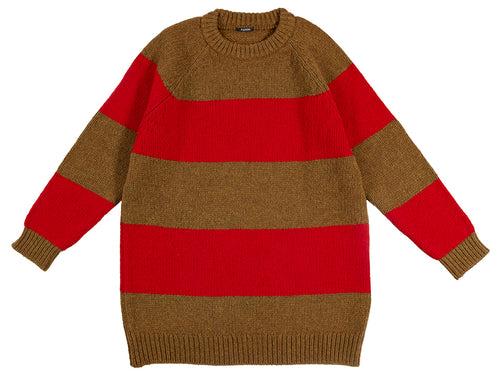 Oversize Stripe Jumper Dark Olive & Tudor-Jumpers & Cardigans-Jo Gordon-Oversize Stripe Jumper Dark Olive & Tudor-100% Lambswool-Jumper-Striped Jumper