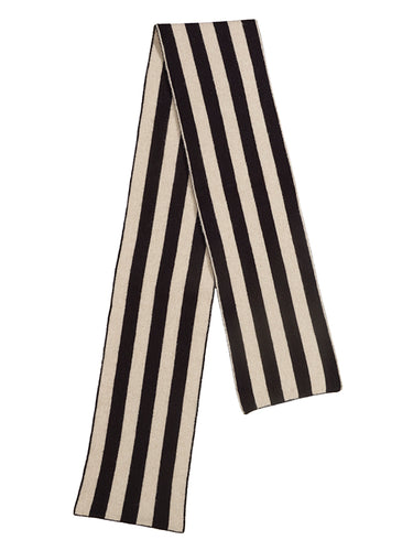 Brushed Vertical Stripe Scarf Black & Oatmeal