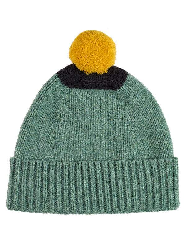 Top Spot Pompom Hat Charcoal & orange gloss
