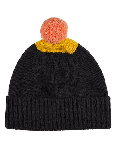Top Spot Pompom Hat Black & Golden Eye