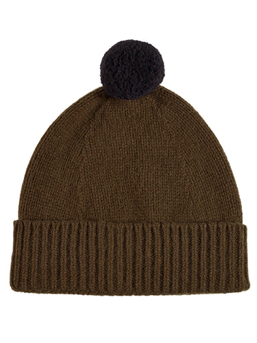 Plain Hat Contrast Pompom Military