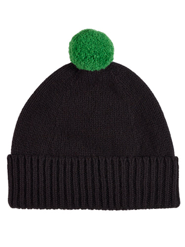 Plain Hat Contrast Pompom Black