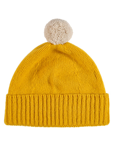 Plain Hat Contrast Pompom Golden Eye