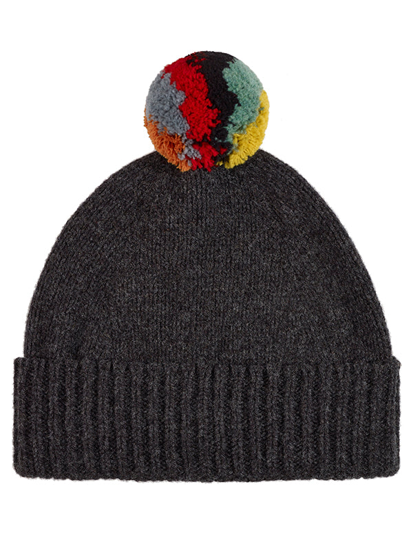 Shaggy Pompom Hat Charcoal
