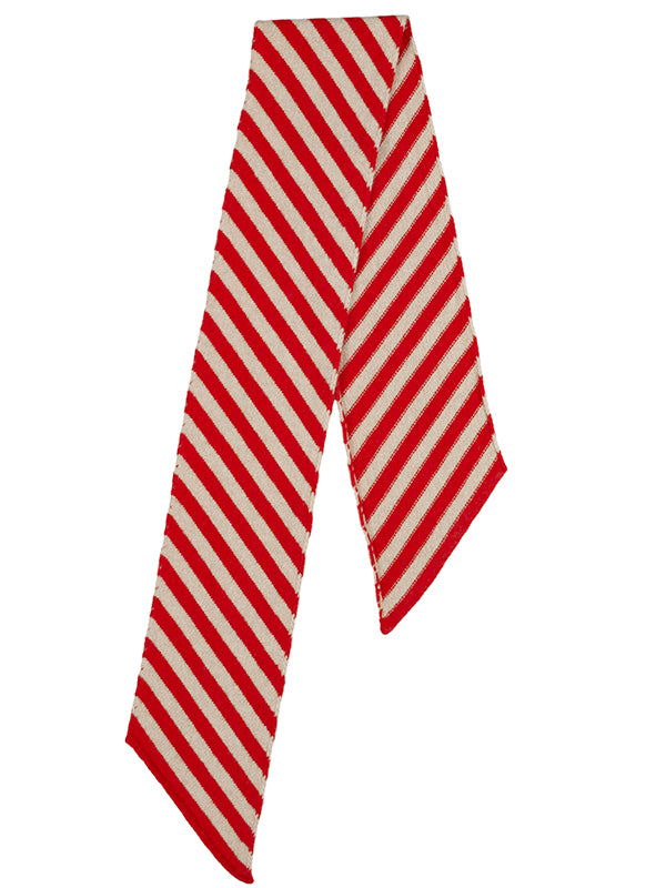 Small Diagonal Stripe Scarf Poppy & oatmeal