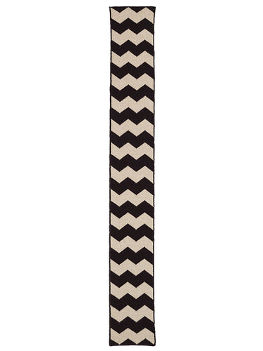 Small Zigzag Scarf Black & Oatmeal