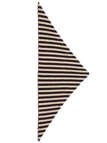 Striped Triangle Neckerchief Black & oatmeal