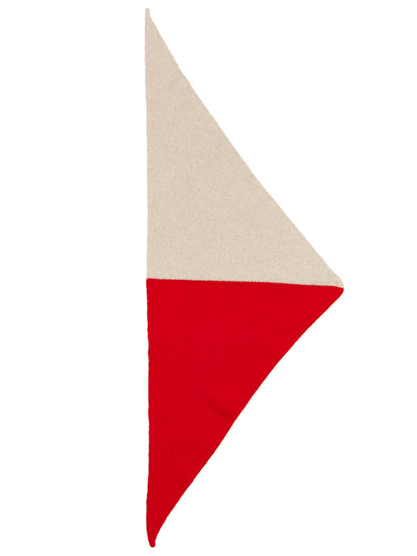Half Half Triangle Neckerchief Poppy & Oatmeal