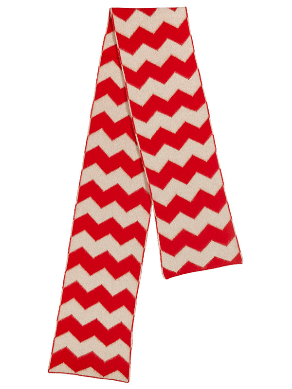 Brushed Zigzag Scarf Poppy & Oatmeal