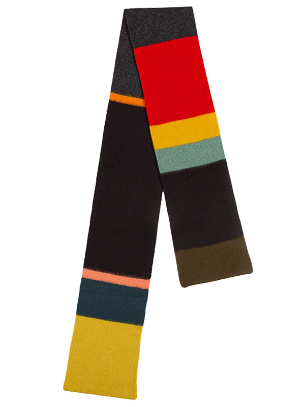 Brushed Uneven Stripe Scarf Black