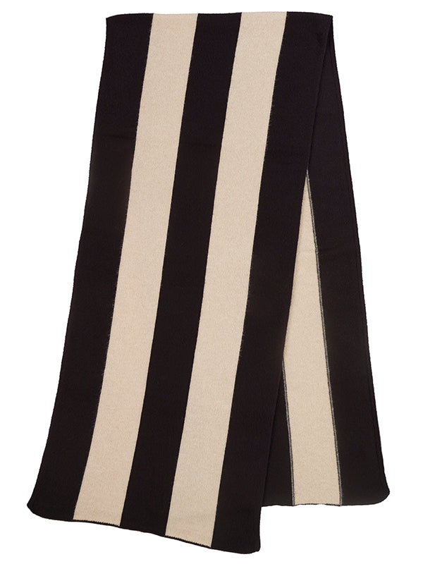 Vertical Stripe Brushed Blanket scarf Black  &  Oatmeal