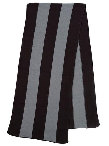 Vertical Stripe Brushed Blanket scarf  Black & Purslane