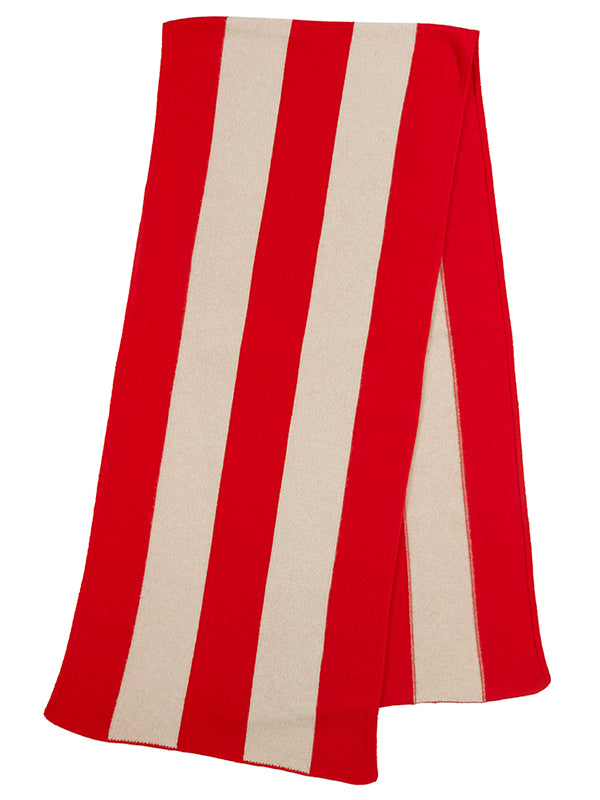 Vertical Stripe Brushed Blanket scarf  Poppy & Oatmeal