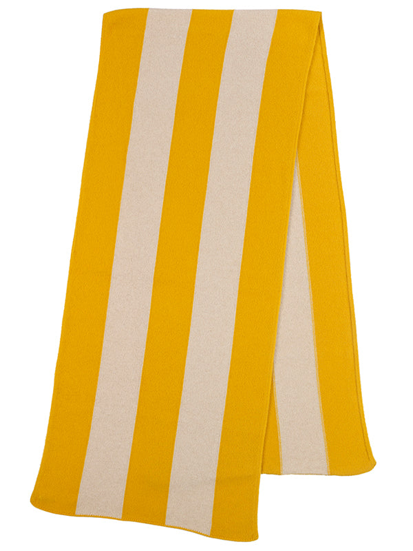 Vertical Stripe Brushed Blanket scarf golden eye & oatmeal