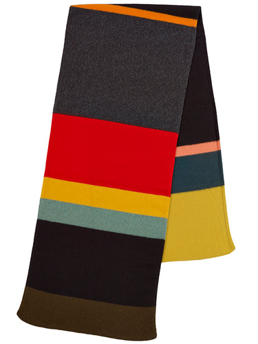 Uneven Stripe Brushed Blanket Scarf Black