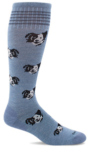 Women's Canine Cuddle Compression Sock, Blue  15-20 mmHg,