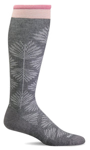 Women's Full Floral Wide Calf Compression Socks, Charcoal