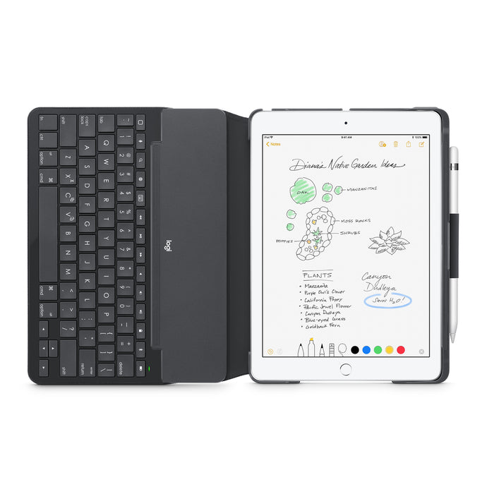 Logitech Slim Folio Case with Integrated Bluetooth Keyboard for iPad — Black