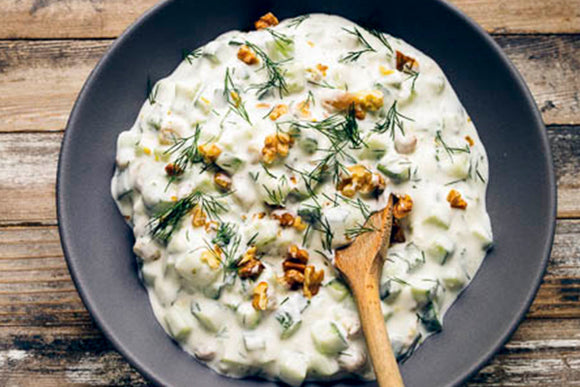 Cucumber Salad with Yogurt, Raisins, Walnuts and Mint - Janet Fletcher