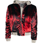 Hooded Red Velvet Bomber