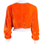 Orange Velvet Bomber Jacket