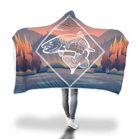 Autumn Trout Hooded Sherpa Blanket